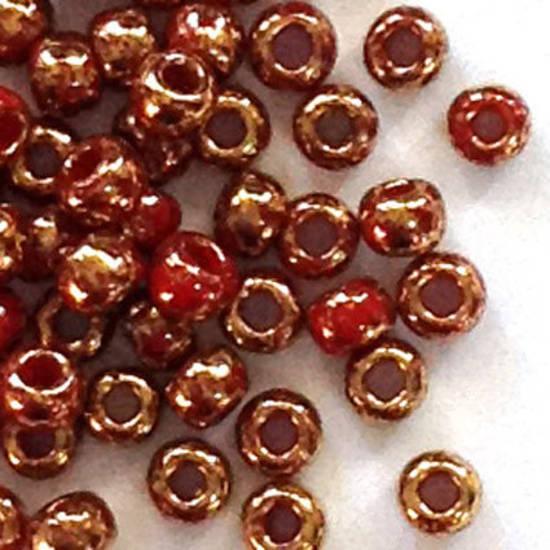 Toho size 11 round: 1708 - Dark Red, bronze colourwashed