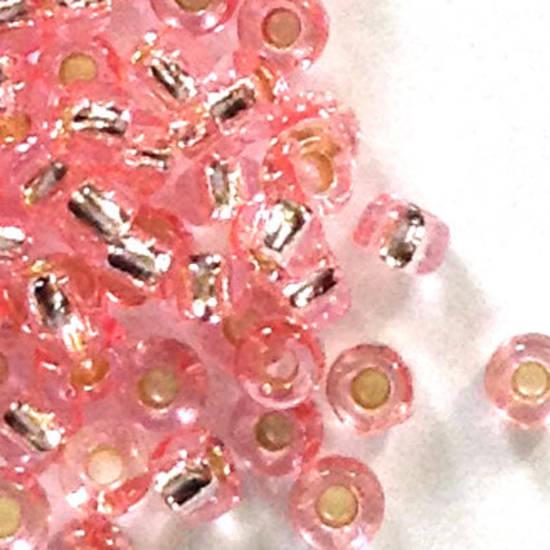Toho size 11 round: P22A - Light Pink silver lined