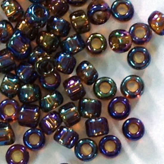 Matsuno size 11 round: 257 - Purpley Amber Iris, transparent