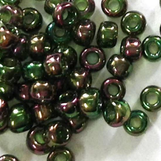 Toho size 11 round: 319D - Purpley Green Iris, transparent