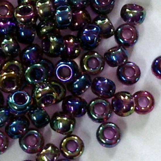 Miyuki size 11 round: 333 - Purple/Green/Gold Iris