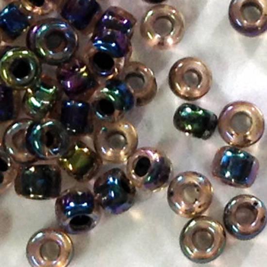 Matsuno size 11 round: 343B - Purpley Green Colourlined Iris, transparent