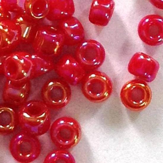 Matsuno size 11 round: 426A - Red AB, semi-opaque