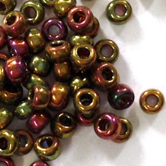 Miyuki size 11 round: 462N - Metallic Gold/Green/Pink Iris