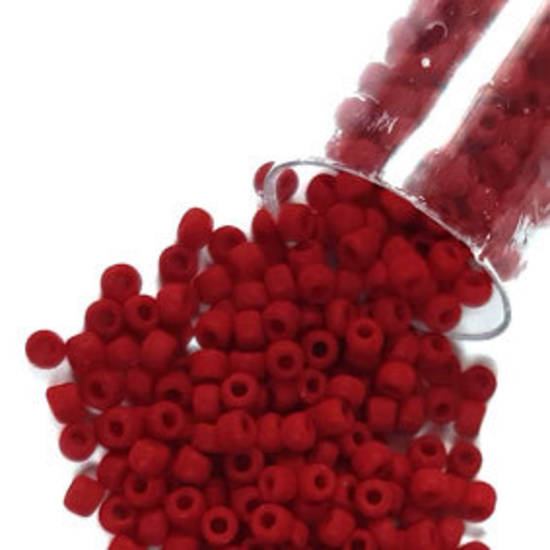Matsuno size 11 round: F408A - Frosted Deep Red Opaque