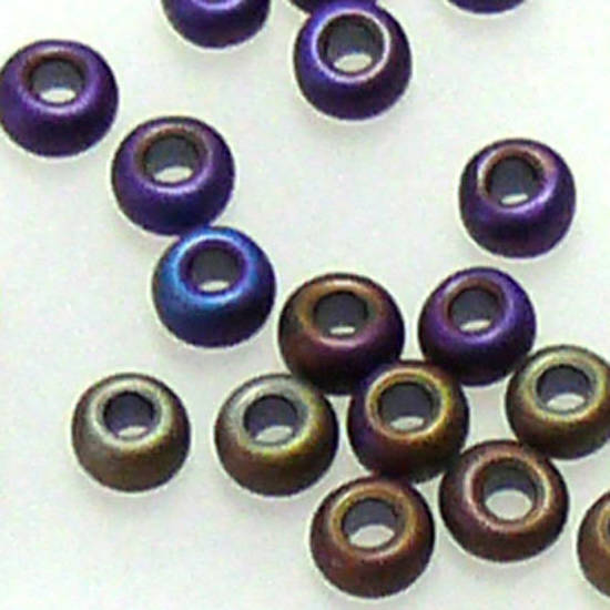 Toho size 11 round: F455A - Frosted Purple/Brown Iris