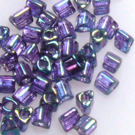 Toho size 11 triangle: 319C - Purple Blue Iris, transluscent