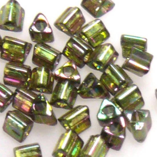 Toho size 11 triangle: 319D - Dark Greeny/Pink Iris, transluscent