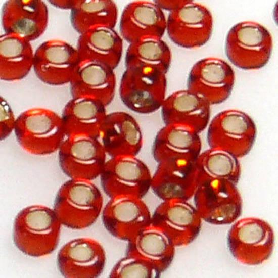 Miyuki size 15 round: 11 - Red, silver lined