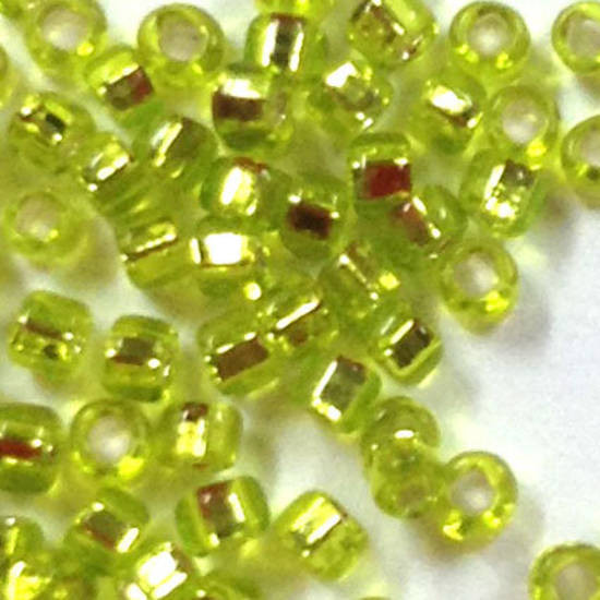 Miyuki size 15 round: 14 - Lime, silver lined