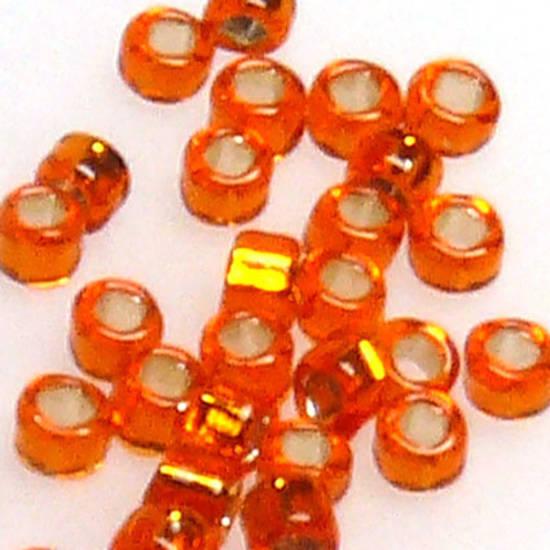Miyuki size 15 round: 7 - Orange, silver lined