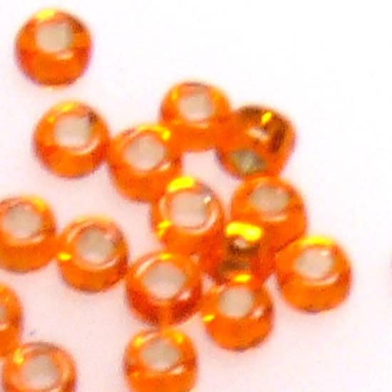 Miyuki size 15 round: 8 - Orange, silver lined