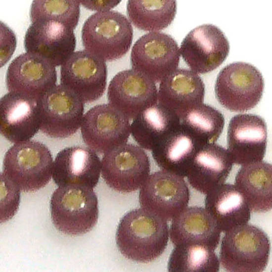 Miyuki size 15 round: F13 - Frosted Dark Amethyst, silver lined