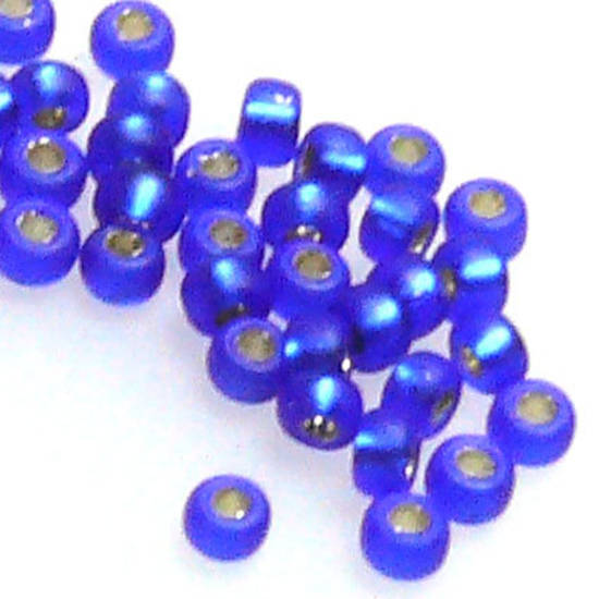 Miyuki size 15 round: F20 - Frosted Sapphire, silver lined