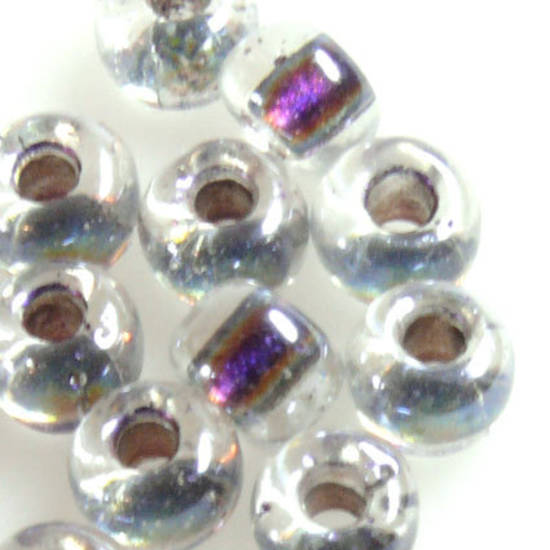 Miyuki size 2 round: 752 - Purple Shimmer centre, clear outer
