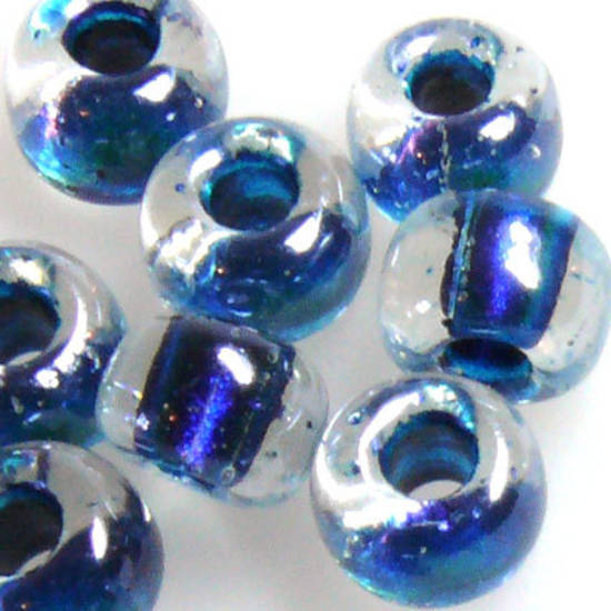 Miyuki size 2 round: 756 - Deep Kingfisher Blue Shimmer centre, clear outer