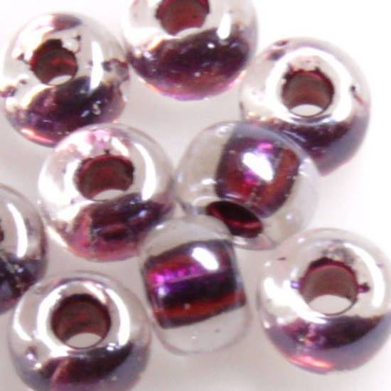 Miyuki size 2 round: 757 - Transparent, Purple/Maroon colour lined