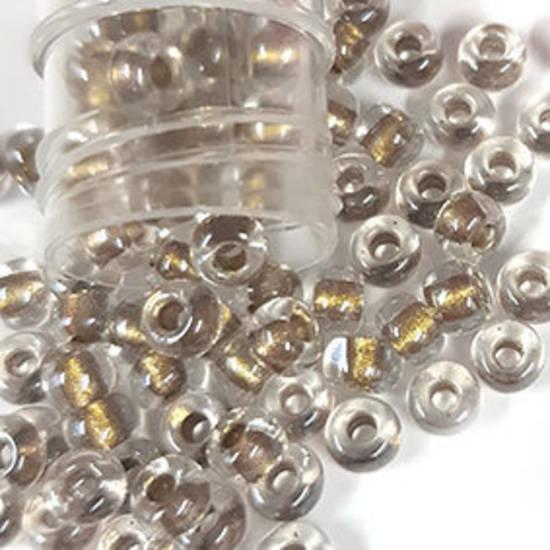 Miyuki size 6 round: 769 - Clear, dull gold lined