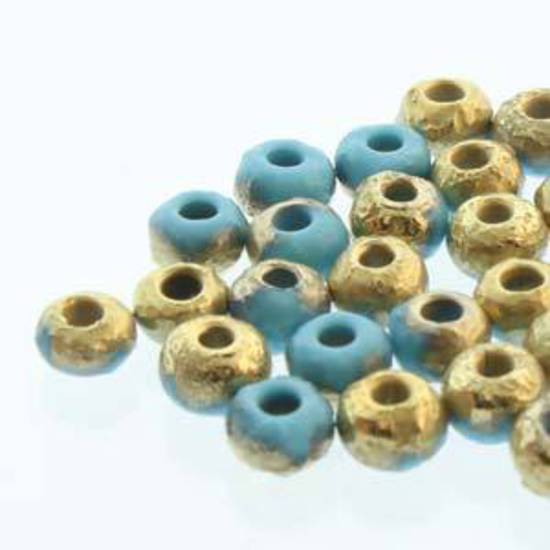 NEW! Czech size 8 round: Turquoise Blue Etch Amber