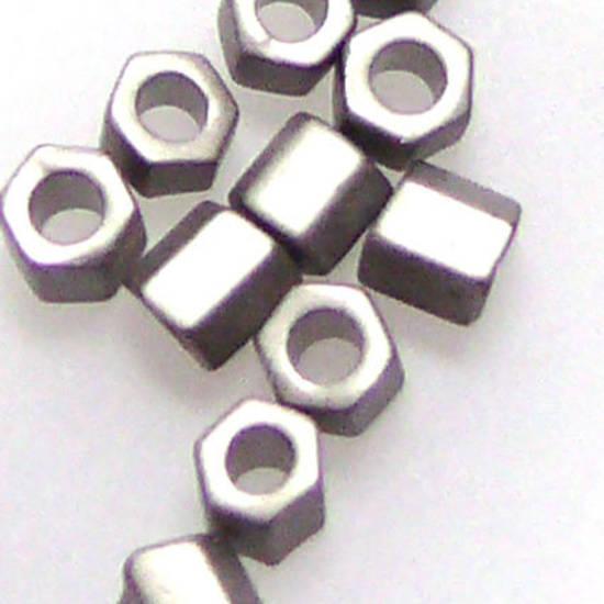 Miyuki size 8 hex: F451D - Frosted Silver Grey Metallic