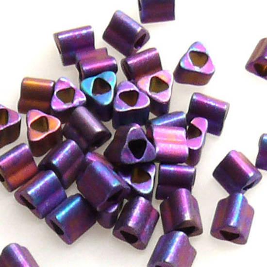 Toho size 8 triangle: F460T - Frosted Metallic Purple/Blue Iris