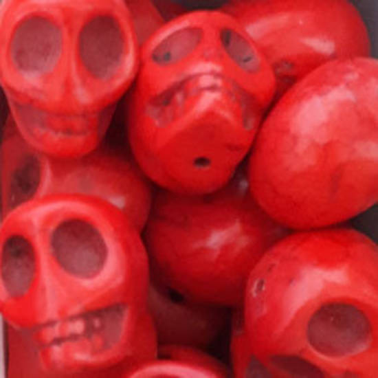 Howlite Skull: Large - Red