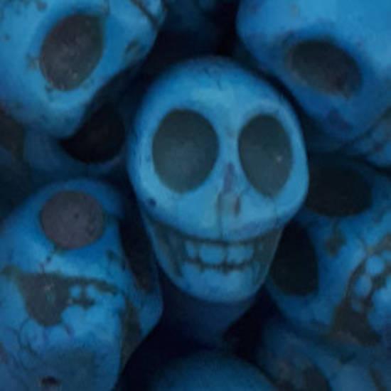 Howlite Skull: Large - Turquoise Blue