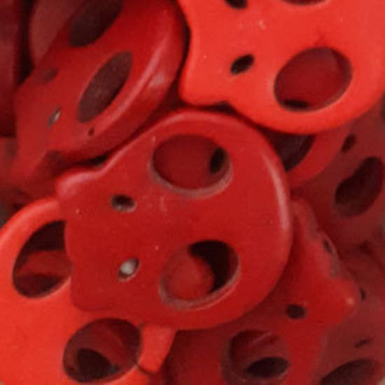 Howlite Skull: Flat - Red