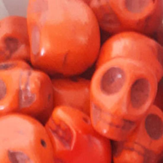Howlite Skull: Large - Orange