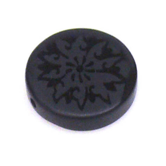Honed Onyx, flat disc with design. 15mm.