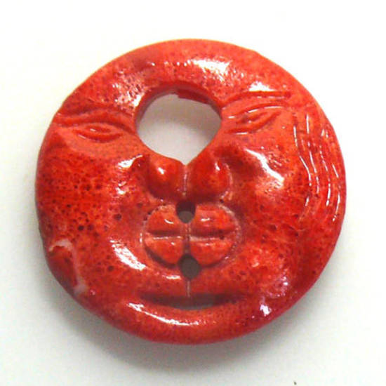 Pressed Coral Pendant, dual faces