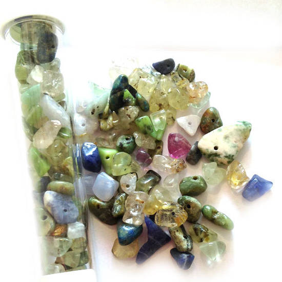 Semi-Precious Chip Mix - Greens and Blue (tall tube)