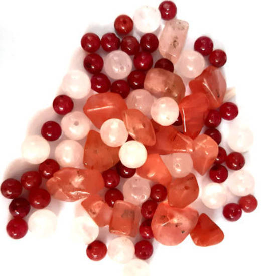 NEW! Semi-Precious Chip/Bead Mix - Agate, Rose and Cherry Quartz