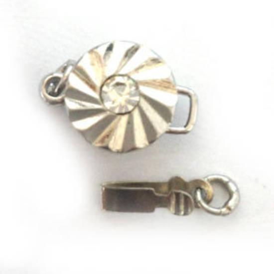 Sparkly Clasp,  Round, antique silver