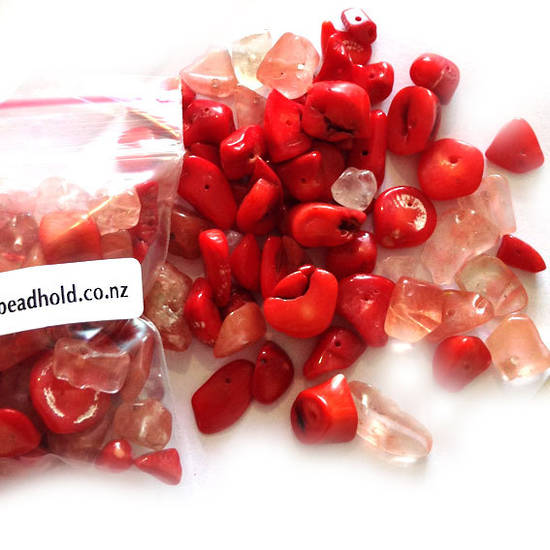 Semi-Precious Chip Mix - Coral and Cherry Quartz