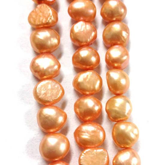 NEW! 40cm Freshwater Pearl Strand: Light Peachy Orange (uneven) 8mm