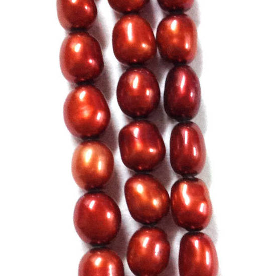 NEW! 40cm Freshwater Pearl Strand: Burnt Orange ovals, 4x5mm