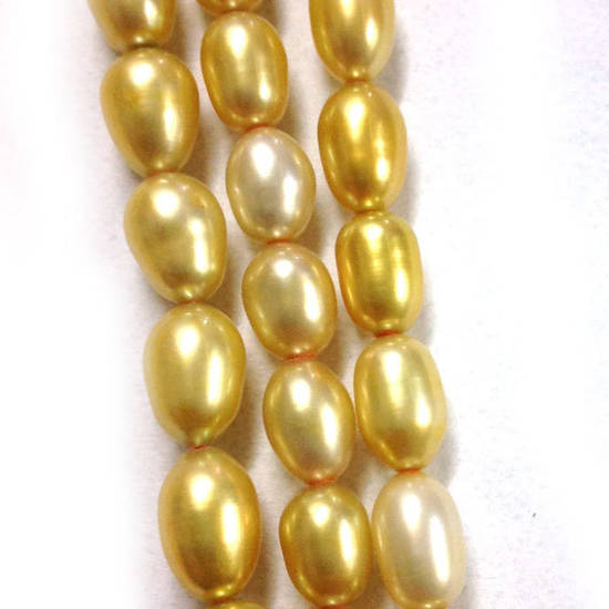 NEW! 40cm Freshwater Pearl Strand: Shades of Yellow ovals