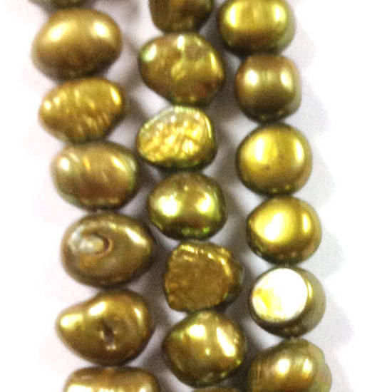 NEW! 40cm Freshwater Pearl Strand: Khaki Green/Brown (uneven) 8mm