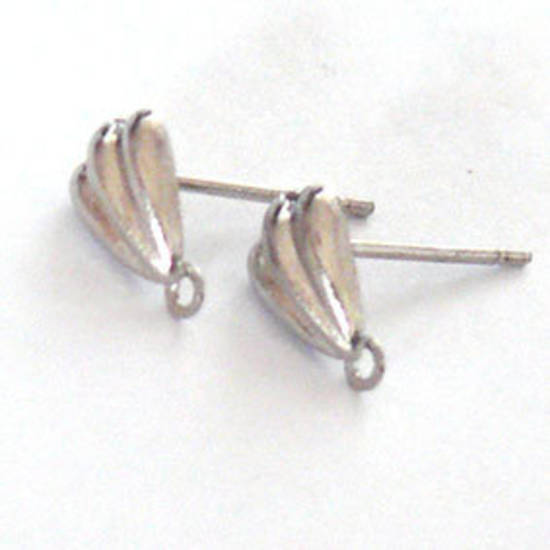 Stud Drop, 8mm deco shell - antique silver