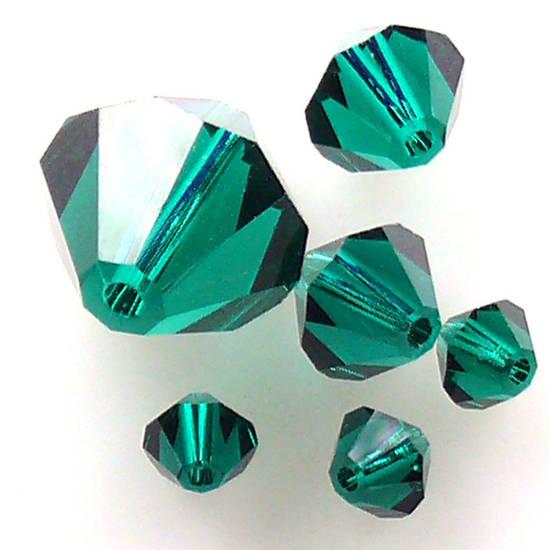 10mm    Swarovski Crystal Bicone, Emerald