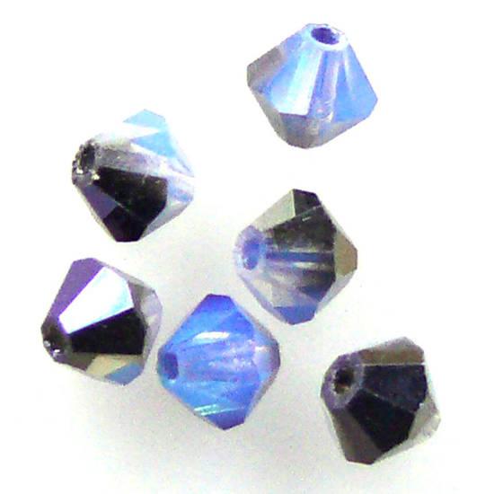 4mm Swarovski Crystal Bicone, White Opal Sky Blue