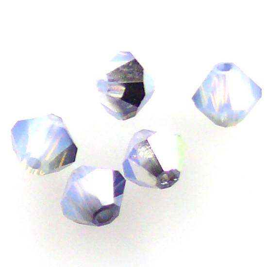 4mm Swarovski Crystal Bicone, White Opal Star Shine