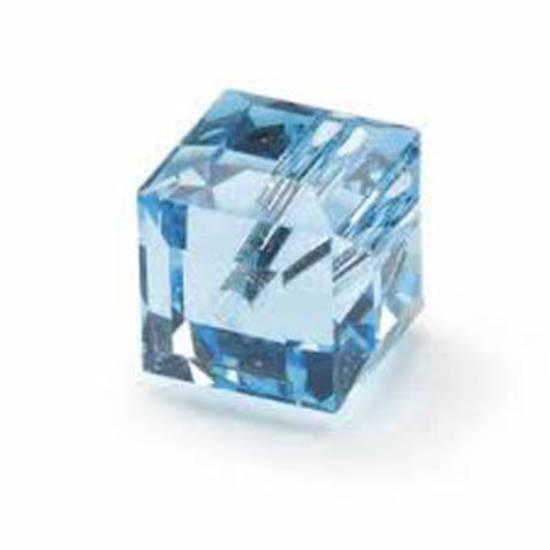 6mm Swarovski Crystal Cube, Aqua