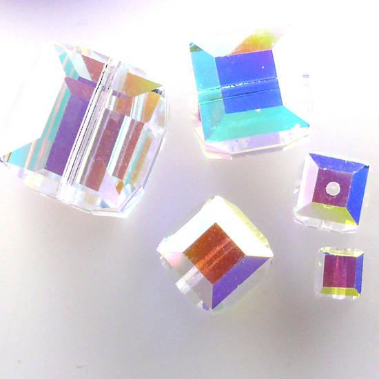 10mm Swarovski Crystal Cube, Crystal AB