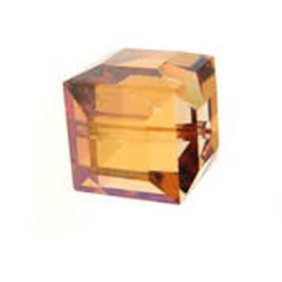 6mm Swarovski Crystal Cube, Crystal Copper