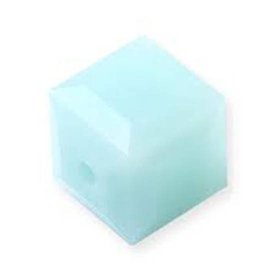 6mm Swarovski Crystal Cube, Mint Alabaster