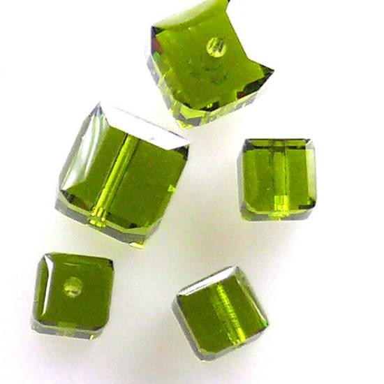 4mm Swarovski Crystal Cube, Olivine