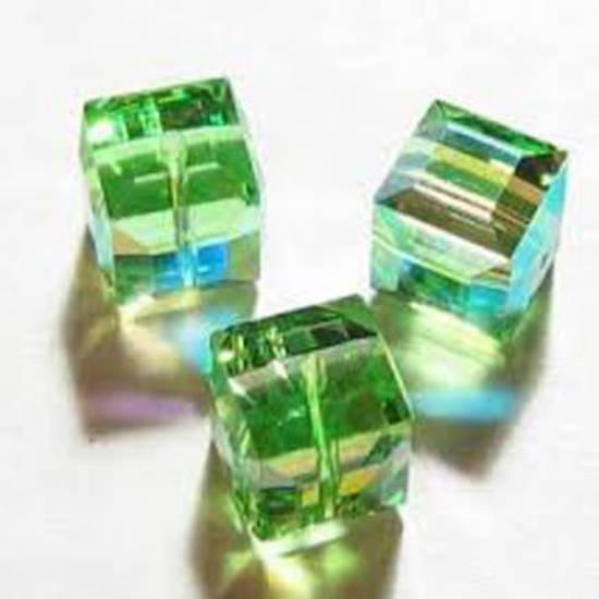 8mm Swarovski Crystal Cube, Peridot AB