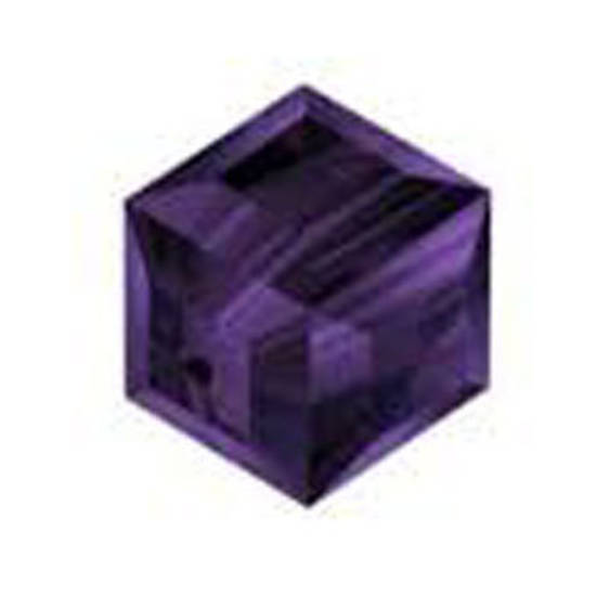 6mm Swarovski Crystal Cube, Purple Velvet